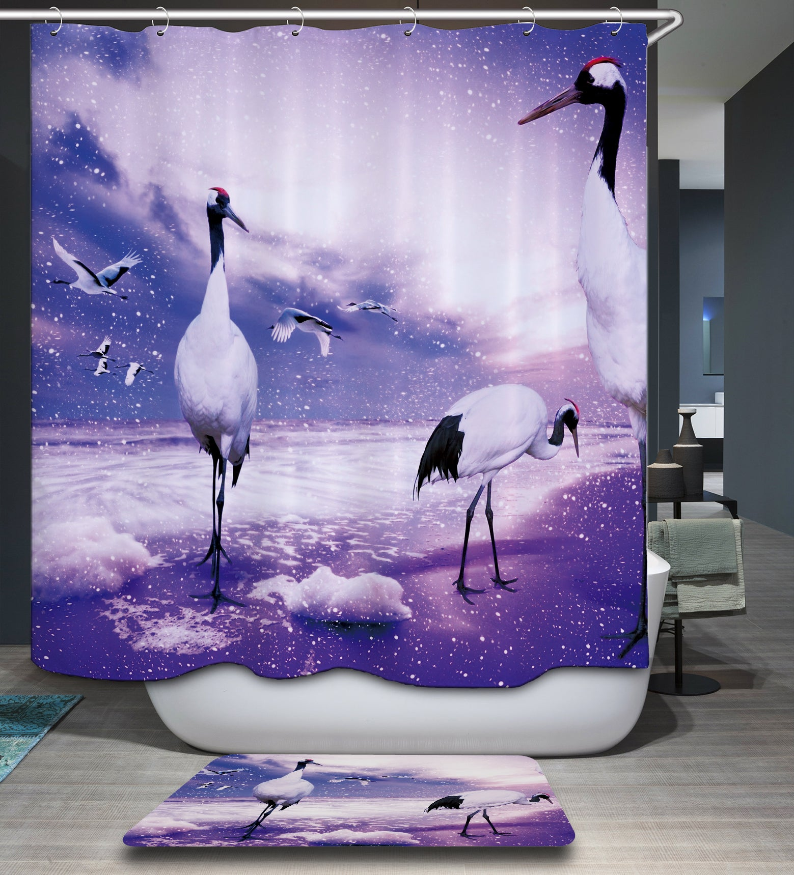 Oriental Red Crowned Crane Shower Curtain
