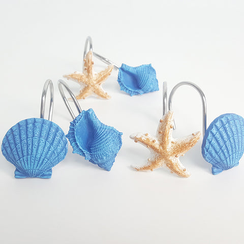 Original Bright Color Beach Seashell and Starfish Shower Curtain Hooks Rings