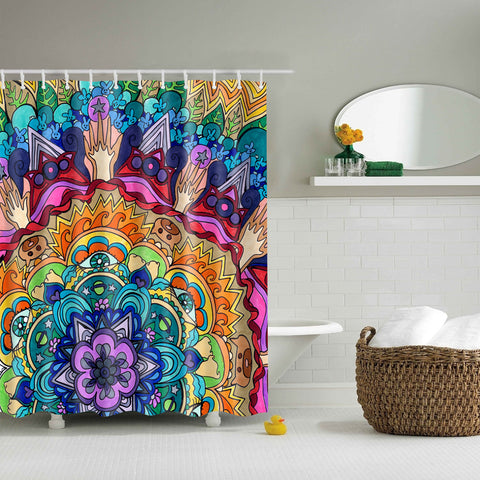 Original Mandala Flora Art Print Shower Cortina | GoJeek
