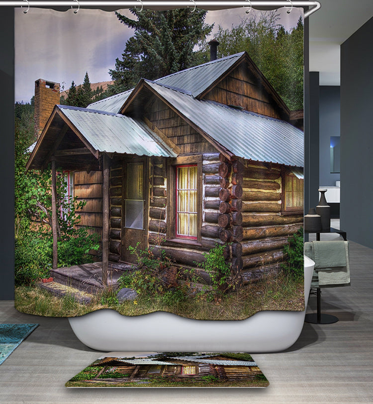 Outhouse Log Cabin Shower Curtain