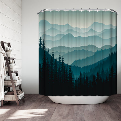 Overlapping Mountains in the Cloud Shower Curtain