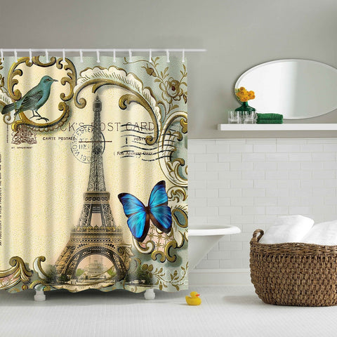 Paris Eiffel Tower Post Card Butterfly Shower Curtain | GoJeek