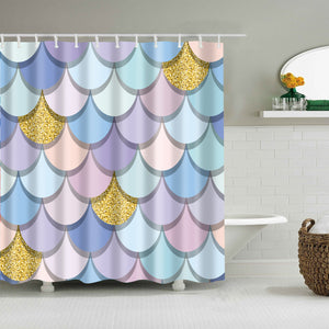 Pastel Mermaid Tail Scale Geometric Shower Curtain