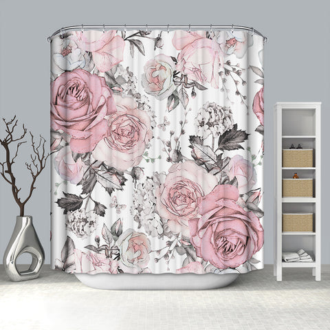 Pastel Watercolor Pink Roses Floral Leaves Shower Curtain