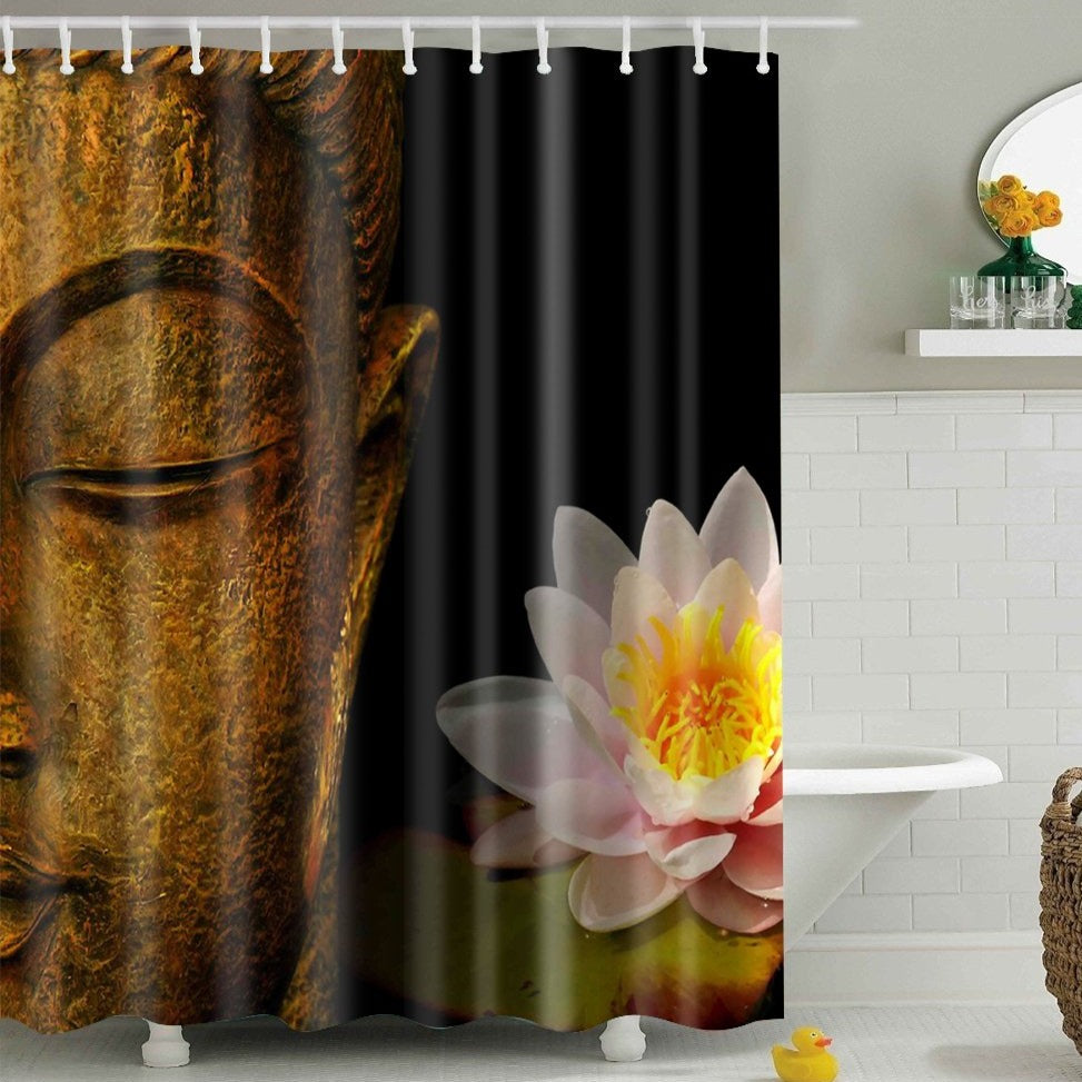 Peace Lotus Buddha Shower Curtain | GoJeek