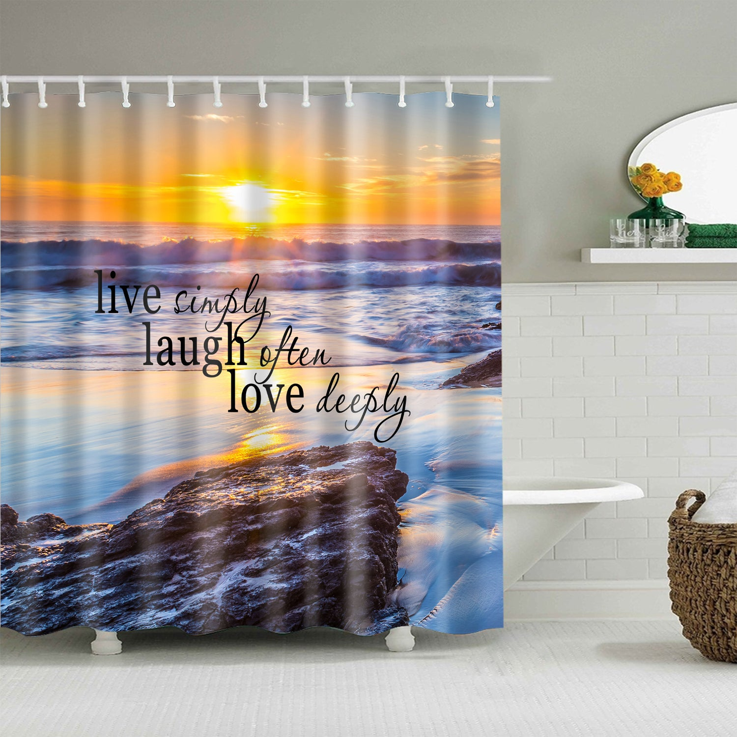 Peaceful Coast Beach Live Laugh Love Quote Shower Curtain