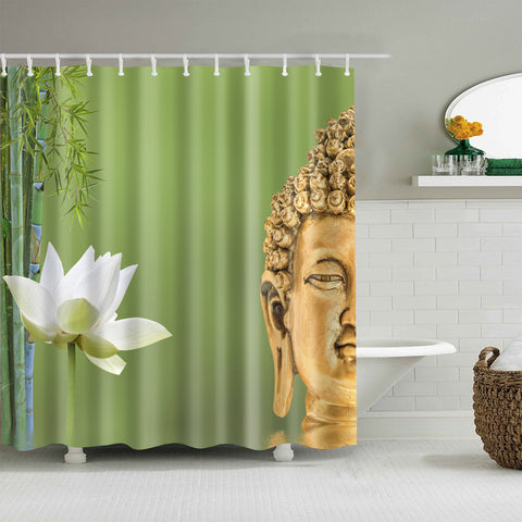 Peaceful Sacred Lotus with Buddha Statue Shower Curtain