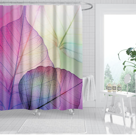 Peach Color Skeleton Macro Leaves Morning Glory Shower Curtain