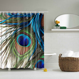 Peacock Feather Blue Shower Curtain Bath Decor | GoJeek