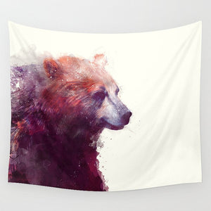 Pencil Drawing Brown Bear Tapestry