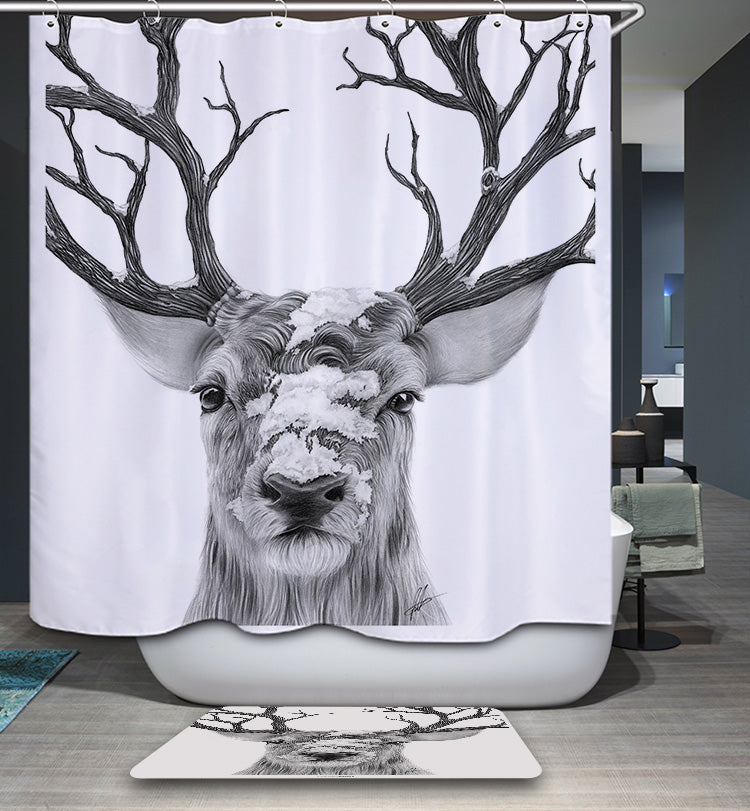 Pencil Drawings of Deer Head Shower Curtain