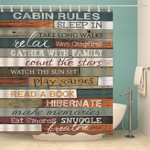 Penny Lane Cabin Rules Poster Wood Door Print Shower Curtain