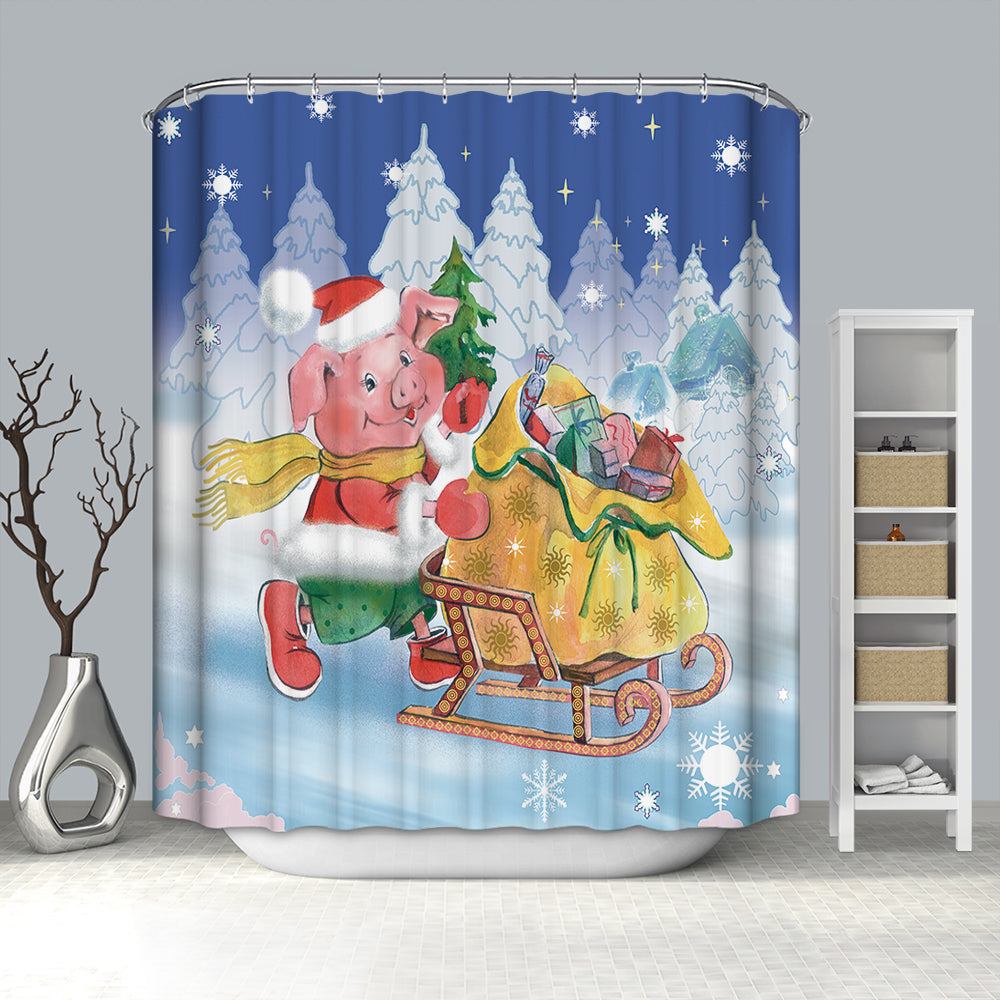 Pig Sending Xmas Gifts Shower Curtain