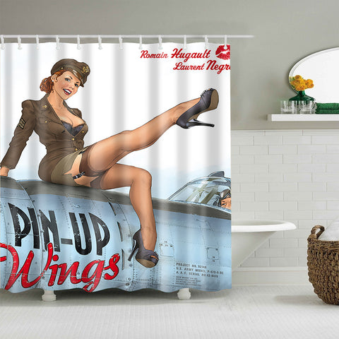 Pin-up Wings 2 Retro Pilot Girl Poster Shower Curtain