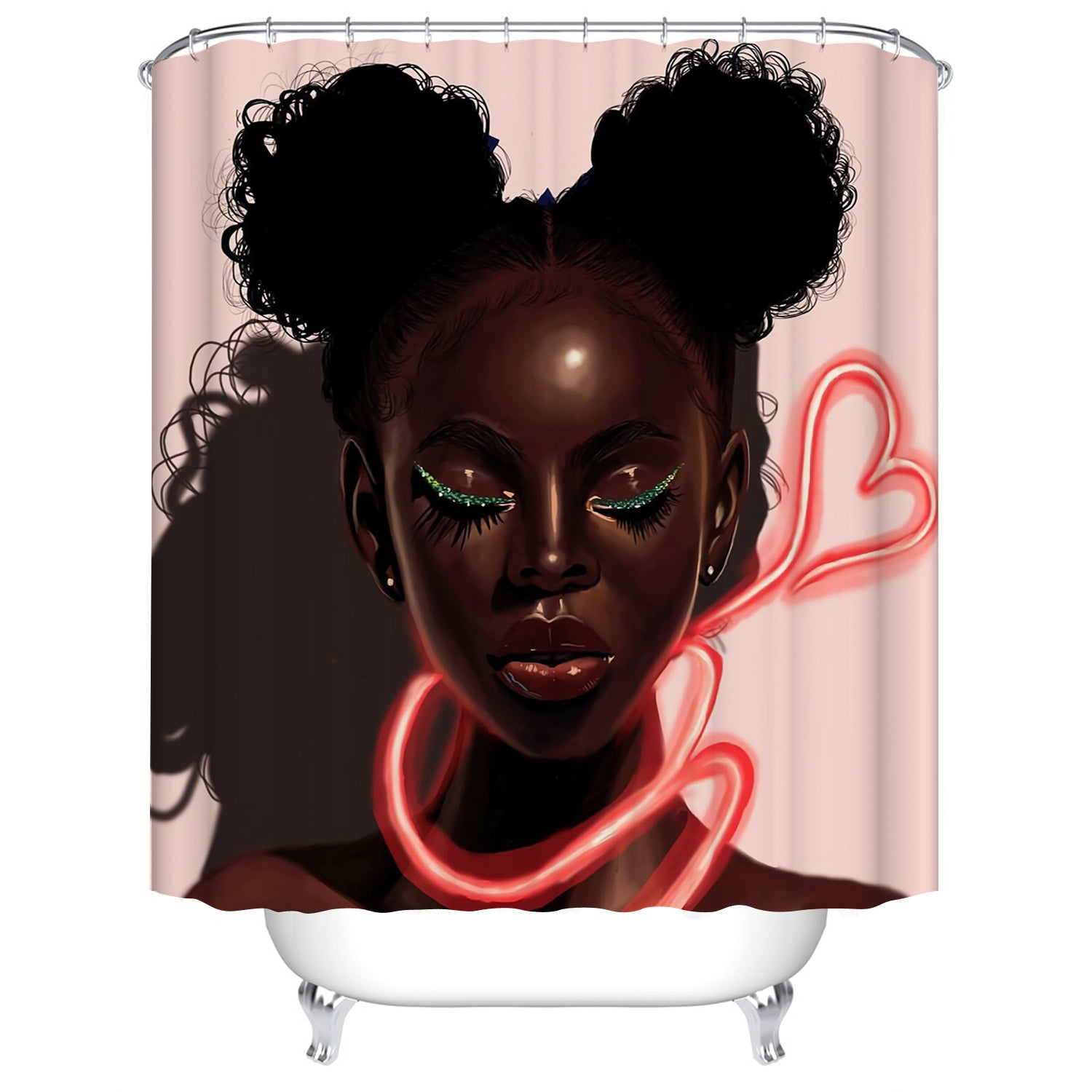 Pink Backdrop Black Art Melanin Girl with Love Shape Neon Light Afro American Shower Curtains