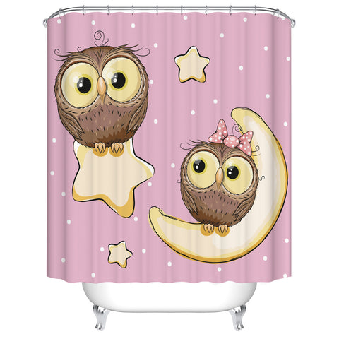 Pink Backdrop Cartoon Cute Star and Moon Night mit Kids Owl Shower Curtain