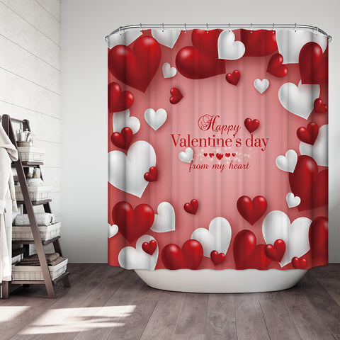 Pink Backdrop Red White Heart Shape Balloon Valentine Holiday Shower Curtain