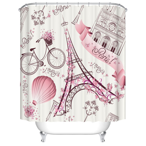 Pink Black Girly Travel Themed Eiffel Tower Bike Hot Air Balloon Louvre Museum Paris Shower Curtain