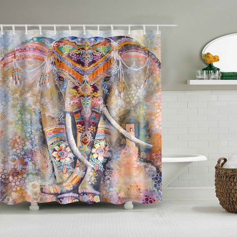 Pink Indian Bohemian Elephant shower curtain