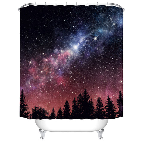 Pink Magic Starry Night Milky Way Galaxy in Forest Star Galaxy Shower Curtain