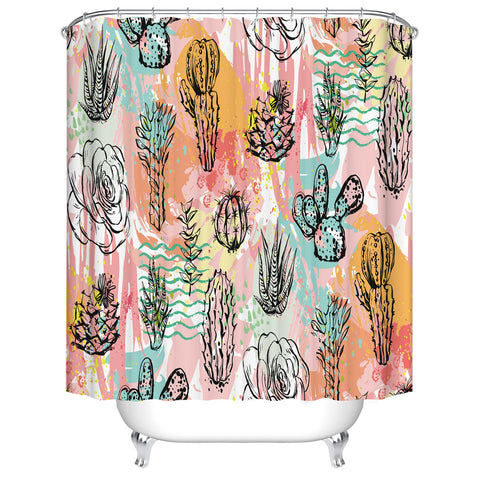 Pink Watercolor Black Drawing Desert Succulent Tropical Cactus Shower Curtain