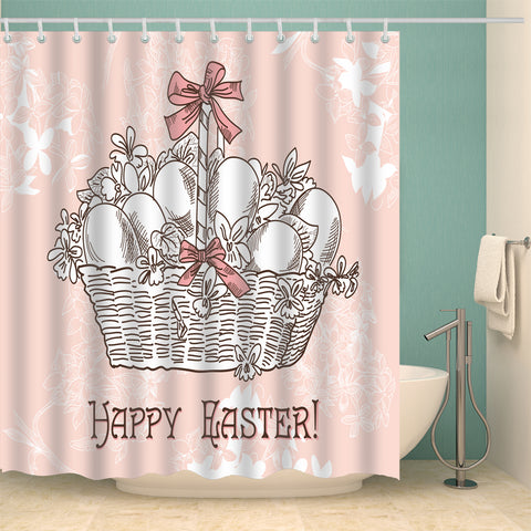 Pink Backdrop A Basket of Easter Eggs Shower Curtain