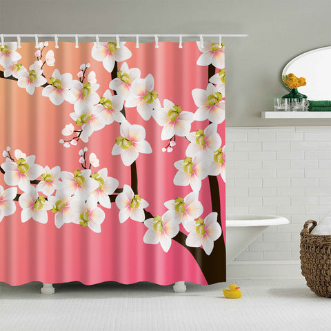Pink Backdrop Cherry Blossom Shower Curtain