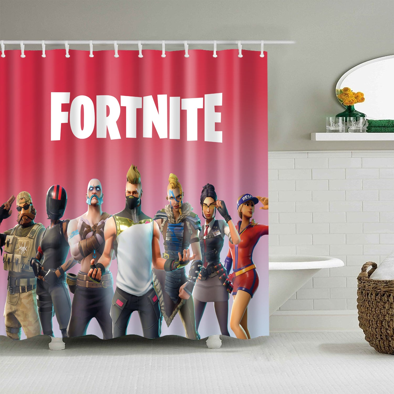 Pink Backdrop Game Fortnite Character Shower Curtain
