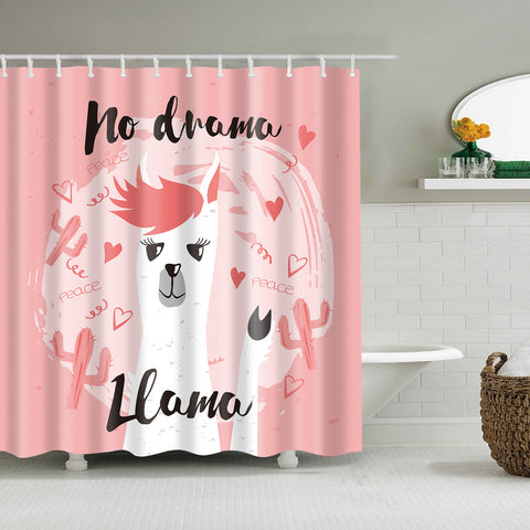 Pink Backdrop Girly Peace Cactus Llama Ducha Cortina