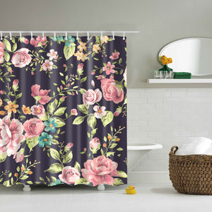 Pink Black Floral Shower Curtain