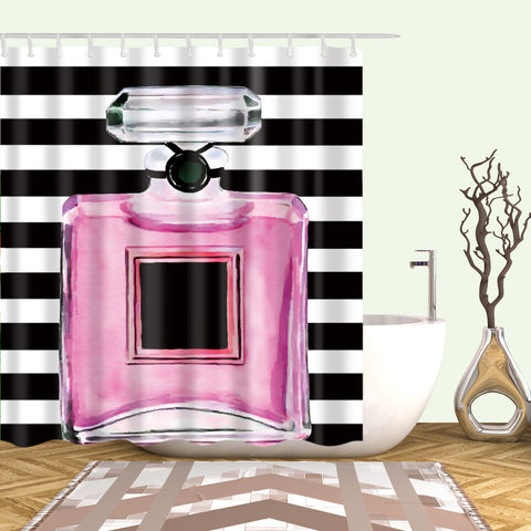 Pink Chanel Perfume Shower Curtains