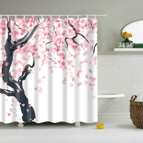 Pink Cherry Blossom Japanese Style Shower Curtain
