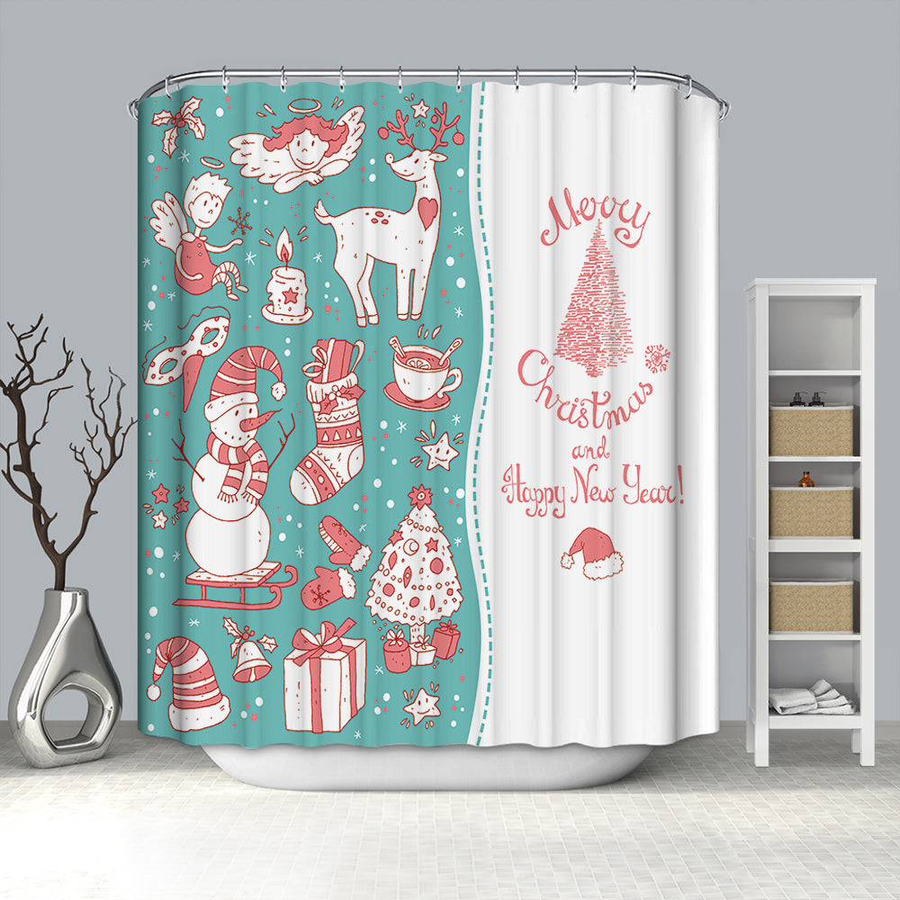 Pink Drawing Christmas Day Shower Curtain