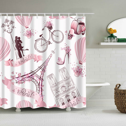 Pink Eiffel Tower Flower Girly Paris City Shower Curtain