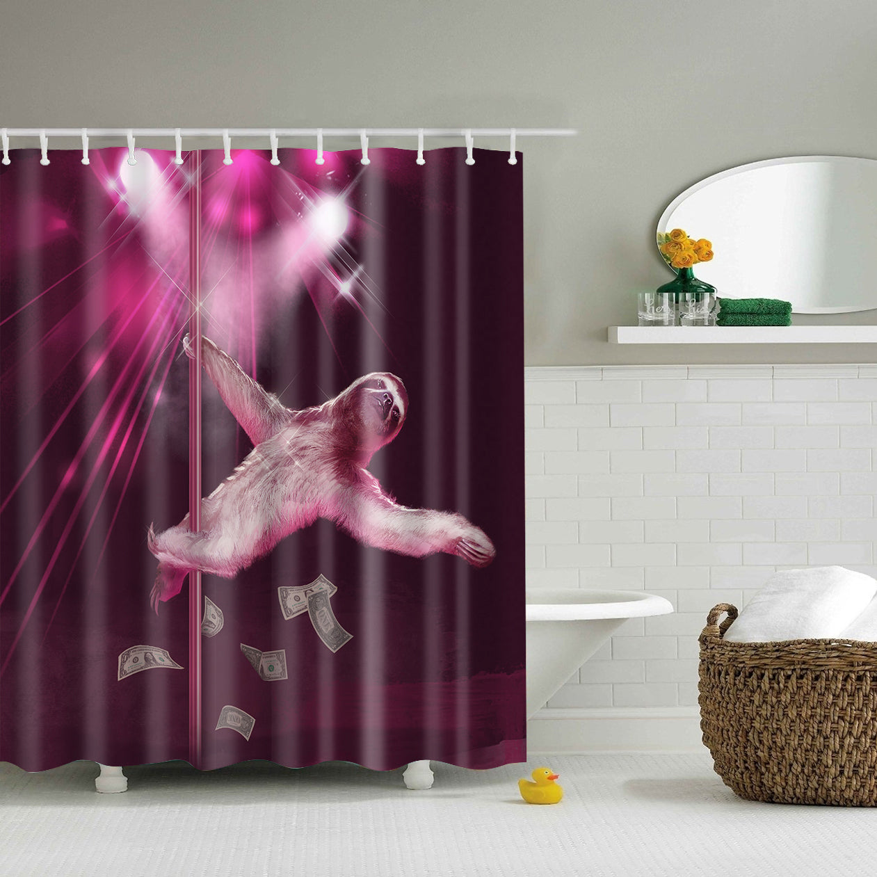 Pink Pole Dancing Stripper Sloth Shower Curtain | GoJeek