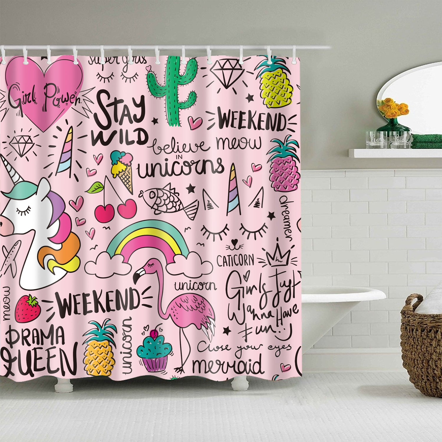 Pink Seamless Cute Drawing Quotes Girls Shower Curtain Gojeek