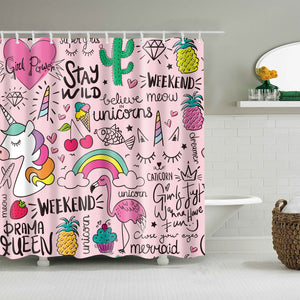 Pink Seamless Cute Drawing Quotes Girls Shower Curtain
