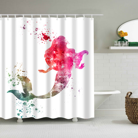 Pink Water Paint Art Little Mermaid Shadow Shower Curtain