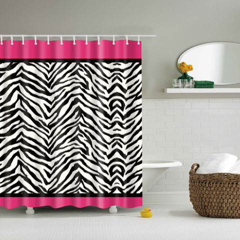 Pink and White Zebra Print Shower Curtain