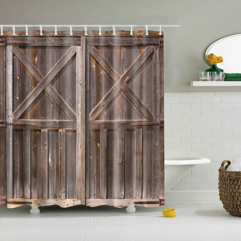 Plank Farmhouse Style Barn Door Shower Curtain