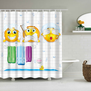 Poop Laugh Emoji Bath Time Shower Curtain