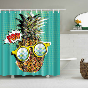 Pop Art Comic Cool Pow Pineapple Shower Curtain