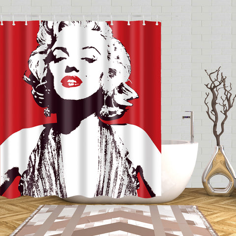 Cortina de ducha con póster enmarcado Marilyn Monroe de Pop Art Sex Red Lips