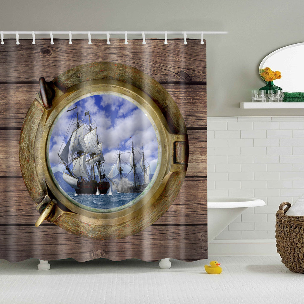 Porthole Scenery Ship Sailing Boat Shower Curtain