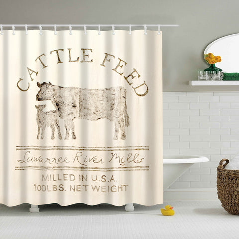 Farmhouse Country Barn Cattle Feed Shower Curtain | GoJeek