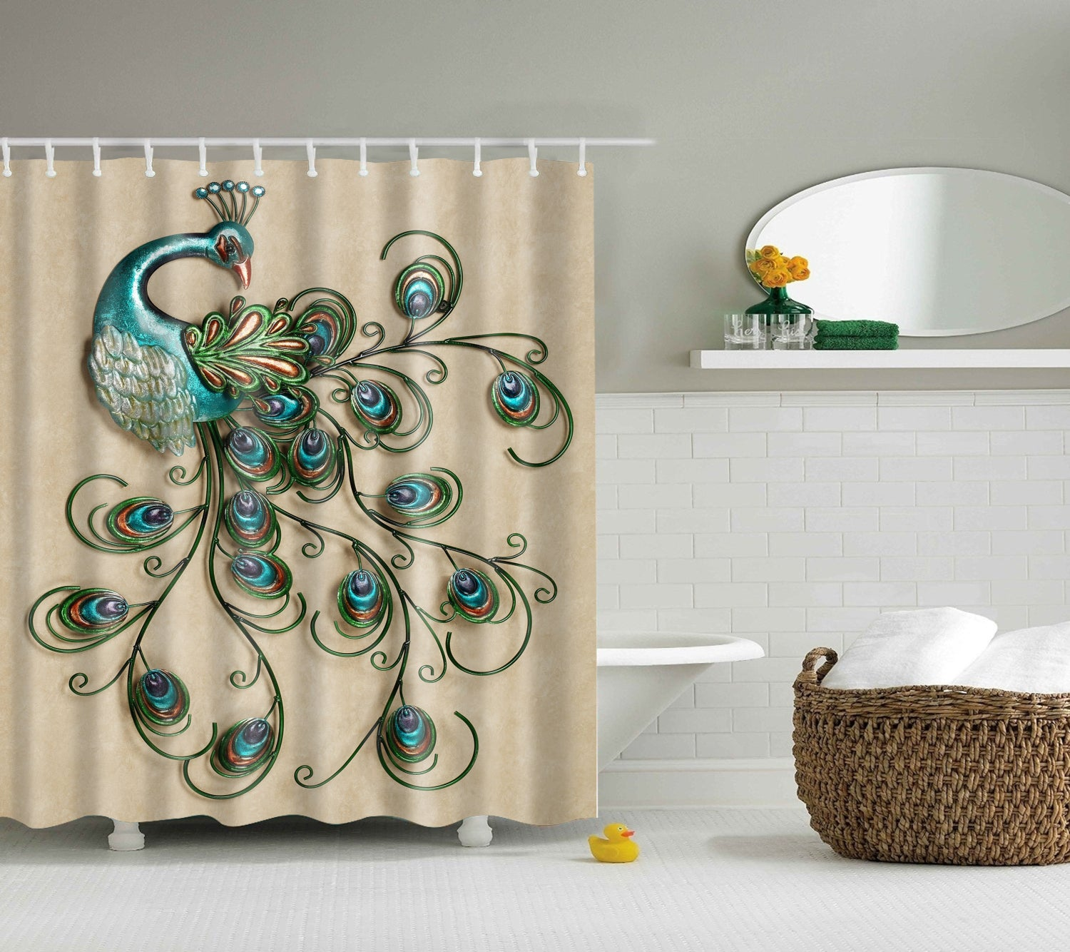 Pretty Peacock Metal Wall Art Shower Curtain