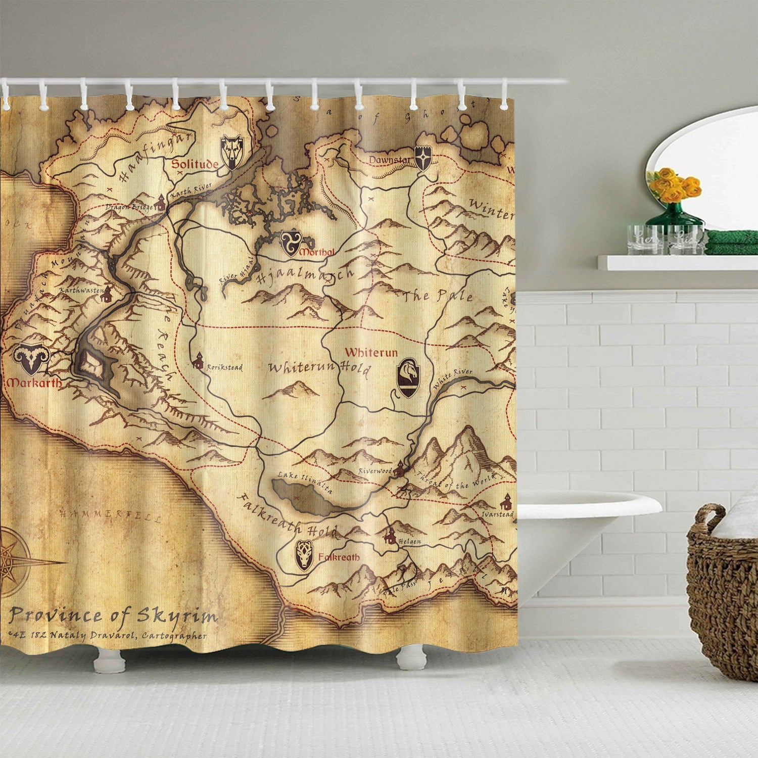 Province of Skyrim The Elder Scrolls Map Shower Curtain