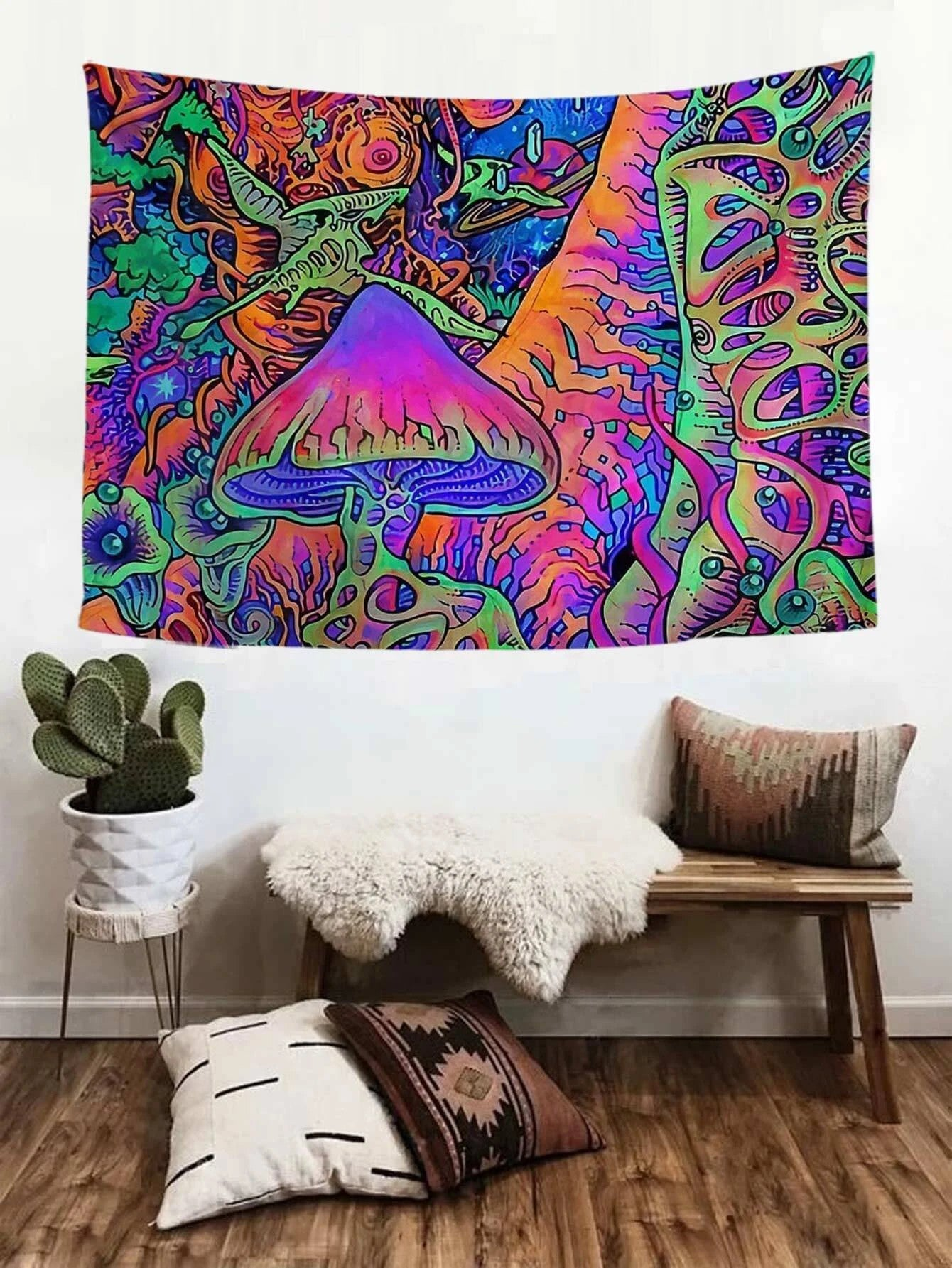 Psychedelic Forest with Pterosaur Dinosaur Trippy Mushroom Tapestry
