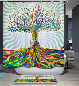 Psychedelic Colorful Tree Shower Curtain