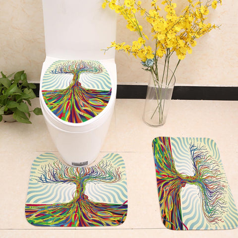 Psychedelic Colorful Tree Toilet Seat Cover